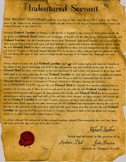 Indentured Servant Contract