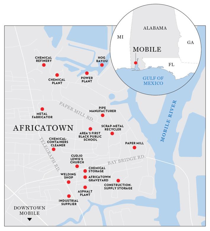 Map of Africatown, Alabama