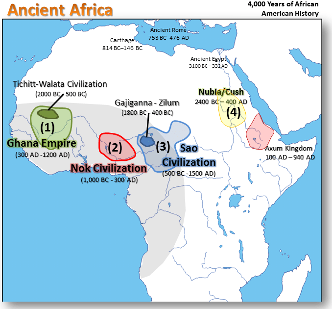 Ancient Africa Map 2000 BC - 500 AD