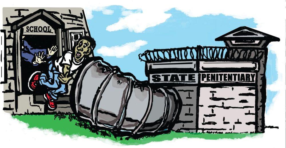 School to prison pipeline cartoon illustration