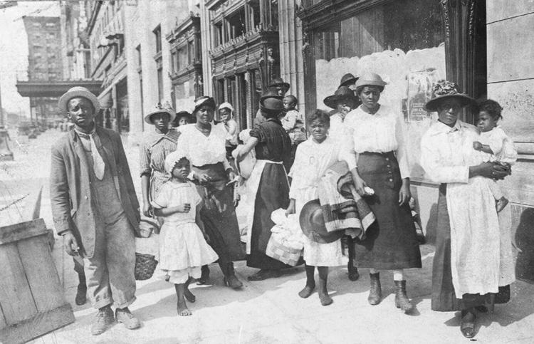 Group portrait of African-American refugees on the streets of East St. Louis after the 1917 race riot. Photo by the St. Louis Star. Phootograph is part of the Special Collections and University Archives, University of Massachusetts Amherst